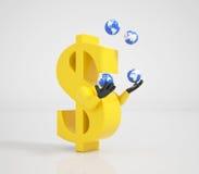 Dollar som jonglerar med världen Arkivbild