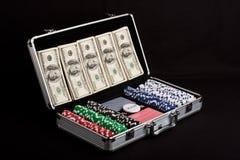 dollar som leker poker, ställde oss in Royaltyfria Bilder