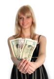 dollar som rymmer kvinnan royaltyfri bild
