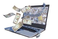 dollar som ut flyger bärbar dator Arkivbild