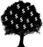 dollar som växer treen stock illustrationer