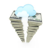 Dollar stack with cloud Royalty Free Stock Photos