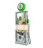 Dollar Stack and Gas Pump Nozzle Royalty Free Stock Photos