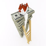 Dollar stack with house on top Royalty Free Stock Photo
