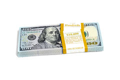 Dollar stack isolated Royalty Free Stock Images
