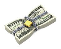 Dollar stack tied by chains Stock Image