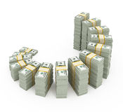 Dollar stacks Royalty Free Stock Photos