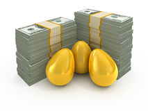 Dollar stacks and golden eggs Royalty Free Stock Image