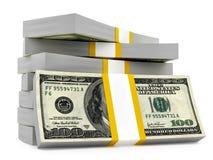 Dollar stacks. Render of dollar stacks, isolated on white Stock Images