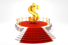 Dollar on Stage. 3d image of golden dollar symbol on stage Royalty Free Stock Images