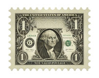 Dollar Stamp. Photo-Illustration using a one dollar bill retouched and re-illustrated to create a faux postage stamp Stock Image