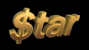 Dollar star. Golden dollar star isolated on black background Stock Image