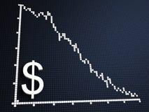 Dollar statistic. 3d rendered illustration of a dollar statistic on a blue background royalty free illustration