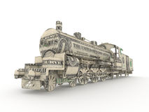 Dollar steam engine. Symbolizing the power of money Royalty Free Stock Images