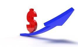 Dollar steigt auf das Weiß, 3d Lizenzfreies Stockfoto