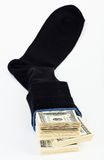 Dollar stock in a sock Stock Image
