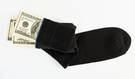 Dollar stock in a sock Stock Images