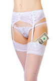 Dollar in stockings Royalty Free Stock Photography