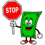 Dollar with Stop Sign Stock Photo