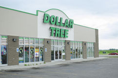 Dollar Store In United States. Moorhead, Minnesota, United States - July 6, 2015: Exterior of Dollar Tree, which is one of several dollar stores found across the royalty free stock photo