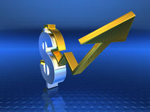 Dollar success. Golden dollar booming, 3d generated Royalty Free Stock Images