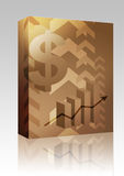 Dollar success illustration box package. Software package box Abstract financial success illustration with dollar currency Royalty Free Stock Photo