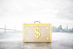 Dollar suitcase on abstract background. Golden suitcase with dollar sign on abstract city background. Financial growth concept. 3D Rendering vector illustration