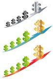 Dollar sur l'icône de flèche Photographie stock libre de droits