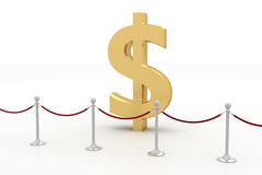 Dollar Surrounded By Vip Barrier Stock Image