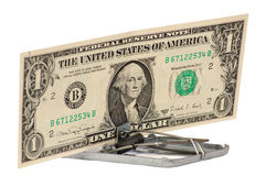 The dollar swindle. There is a mousetrap in the photo. The lure is a dollar banknote Royalty Free Stock Photo
