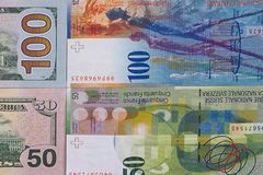 100 dollar 50 swiss franc money background. Royalty Free Stock Photos