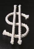 Dollar symbol. (rope on black Stock Photos