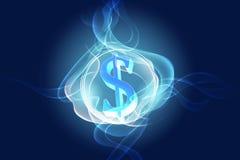 Dollar symbol. In abstract circle light stock photos