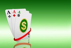 Dollar symbol at ace cards Stock Photography