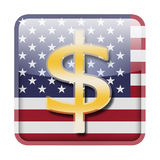 Dollar symbol. On American flag Stock Images