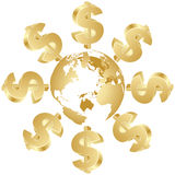 Dollar symbol around the globe. Golden dollar symbol around the globe Stock Photography