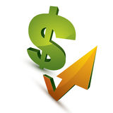 Dollar symbol with an arrow in the shape of checkmark pointing u Stock Images