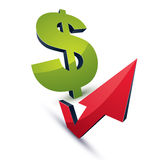 Dollar symbol with an arrow in the shape of checkmark pointing Stock Photo