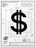 Dollar symbol as technical drawing Stock Image