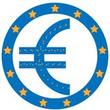 Dollar symbol with Europe Unian flag background royalty free stock photo