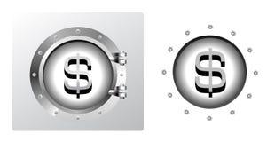 Dollar symbol and banking safe. In porthole form Stock Images