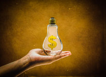 Dollar symbol bottle in hand on grung backgroune Stock Images
