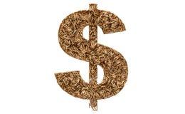 Dollar symbol from bullets, 3D rendering vector illustration