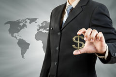 Dollar symbol in businessman hand Stock Images