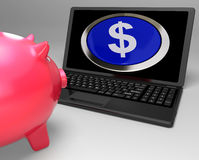 Dollar Symbol Button On Laptop Showing Currencies Stock Photo
