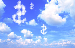 Dollar symbol from clouds Royalty Free Stock Photos