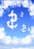 Dollar symbol from clouds Royalty Free Stock Photography