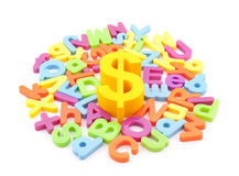 Dollar symbol and colorful letters Royalty Free Stock Image
