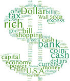 Dollar symbol communication word cloud. Dollar word cloud on white background Stock Image