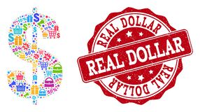 Dollar Symbol Composition of Mosaic and Scratched Stamp for Sales vector illustration